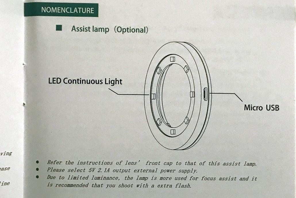 Illuminatore per il fuoco come visualizzato dal libretto di istruzioni del 25mm